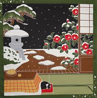 Furoshiki Wrapping Cloth Japanese Cat Fabric 'Tama on a Snowy Night' Cotton 50cm