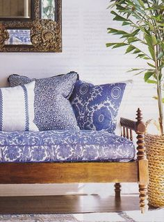 Pink Tropical Bedroom: The Pink Pagoda: Tropical Blue and White Monday Blue And White Fabric, White Fabrics, Deco Ethnic Chic, Wood Daybed, Wooden Sofa, British Colonial Style, White Houses, White Decor, Decoration