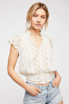 Free People FP One off white eyelet semi-sheer Smocked Uliya Top Blouse S P Eyelet Top, Short Shirts, Caps For Women, Spring Trends, Mode Inspiration, Lace Tops, Boho Chic, Free People, Casual Outfits