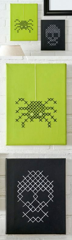If you love the look of cross stitch in your home decor, these DIY Halloween canvases are perfect for you.