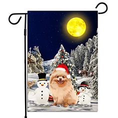 PrintYmotion Pomeranian Dog with Snowman Christmas Holidays Garden Flag, Dog Lovers Gift (12 x 18 Inches) PrintYmotion #Pomeranian #Dog Lovers gift #Christmas Gift #Christmas Flag