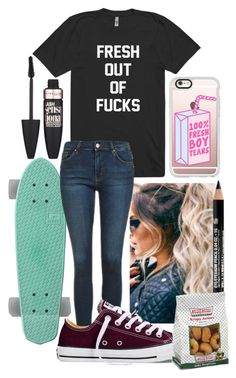 """Untitled #880"" by freedom2095 ❤ liked on Polyvore featuring Casetify, Topshop, Converse, NYX and Maybelline"