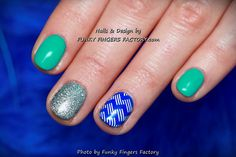 Gelish Blue and Turquoise Zig Zag nails by www.funkyfingersfactory.com