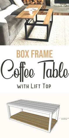 This coffee table has a lift top so you can use it as a table. This is a free, diy project plan that you can use to build your own lift top coffee table. Modify with a bottom shelf or X bracing on the ends. Free plans by Ana-White.com #anawhite #anawhiteplans #diy #diyfurniture #diycoffeetable #coffeetablelifttop