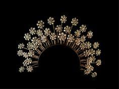 Antique Indonesian Flutter-Flower Ceremonial Headdress, Large Crown, Tiara, Silver & Opalesque Glass, Floral Java Bridal Crown, Piece Unique