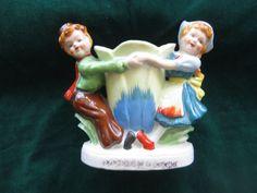 Vintage Pioneer Merchandise Company Ceramic Dutch Children Planter Figurine 1950 #Dutch #PioneerMerchandiseCo