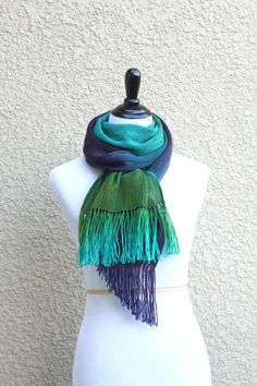 Hand woven long #scarf with gradually changing colors from green to purple.  Amazing color shades and color variety. Unfortunately, I can't show it perfectly on photos.  Mea... #kgthreads #accessories #rusteam #homespunsociety #peacock
