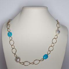PietreDure3M » Lavorazione e taglio pietre dure. » Collana con turchese naturale e perle di fiume