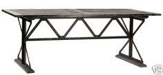 INDUSTRIAL Dining TABLE Reclaimed ELM Wood BLACK Vintage TOP Antiqued STEEL BASE | eBay