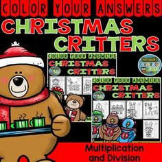 "Ten Christmas Critters Color Your Answers Advance Multiplication and Division Bundle, Answer Keys Included. This math resource includes: * Five Two Digit By Two Digit Multiplication Color By Number Printables * Five Divide By Two Digits Division {With and Without Remainders} Color By Number Printables * Ten Answer Keys that are color coded and have the exact answer. For example, 52 x 32 = 1,664 and ""blue."" #FernSmithsClassroomIdeas"