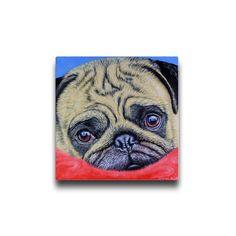Pug  Cute Puggy Dog  Canvas by simon-knott-fine-artist at zippi.co.uk
