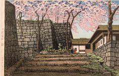 「白河城址と桜」川瀬巴水