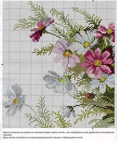 Bouquet of flowers cross stitch pattern. See page 2 for continued pattern and color chart. Cross Stitch Pictures, Cross Stitch Love, Cross Stitch Flowers, Cross Stitch Charts, Cross Stitch Designs, Cross Stitch Patterns, Cross Stitching, Cross Stitch Embroidery, Embroidery Patterns