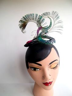 Peacock Curl Sinamay Fascinator by ChefBizzaro on Etsy, $50.00