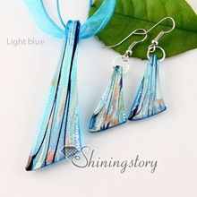 knife silver foil venetian lampwork murano glass necklaces pendants and earrings jewelry sets cheap ladies jewellery