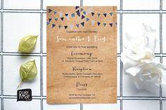Bunting wedding invitation digital printed kraft von RubyMayDesign