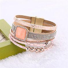 Bohemian Fashion Gem Rhinestone Magnetic Leather Bracelets & Bangles