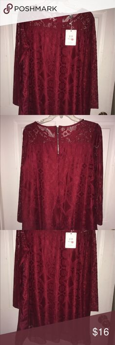 Red lace blouse Gorgeous red lace blouse Brand new Please note runs small More like a 1x Tops Blouses
