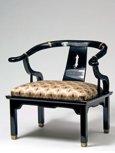 HAZELNUT DAPHNE IKAT BLACK LACQUER ASIAN MODERN CHAIR, Madeline Weinrib, one of a kind.  Love the shape and Weinrib's fabic!