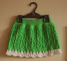"""Юбочка """"Зеленые шишечки"""" крючком. Ажурная юбка крючком для девочки"""