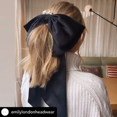 WOW 😮, that's what you call a statement bow!  Would you go that big? Bigger the better? .#hairribbon #blackbow #hairstyles #maneaddicts #mane #statementpiece #statementhair #massivebow #restyle #restyled #theraces #weddingguest #weddingguesthair #ponytail #changehair Black Hair Bows, Mane Addicts, Wedding Guest Hairstyles, Ponytail, Big, Hair Styles, Fashion, Hair Plait Styles, Moda