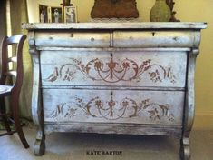 A beautiful dresser finished with Artisan Enhancements Leaf & Foil Size and Metallic Foils.