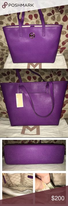 "NWT Michael Kors Jet Set Tote New Jet Set Tote in a beautiful Saffiano Violet! It's lined, key fob. 1 zip and multiple slip pockets, the exterior has a slip pocket in back, magnetic closure and hardware is in gold! It measures 17 X 12 X 4.5 double handle drop is 9.5"" KORS Michael Kors Bags Totes"