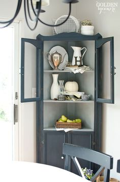 Corner Hutch Furniture Makeover | Hutch furniture, Corner hutch and ...