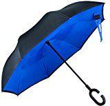 #8: UmbrellaGlamore Inverted Double Layer Windproof UV Protection Reverse Folding Umbrellas Inside Out Travel Umbrella