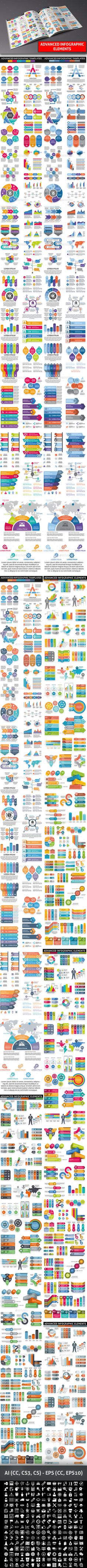 Bundle Advanced Infographic Elements Template AI Illustrator #design