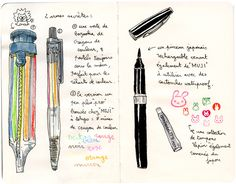 Lapin's secret weapon is a multicolor lead mechanical pencil. Use for setup and highlights.