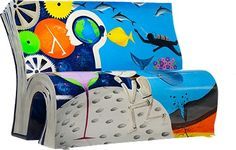 Book bench inspired by The Hitchhiker's Guide to the Galaxy see http://www.booksabouttown.org.uk/?action=ViewBenchId=43