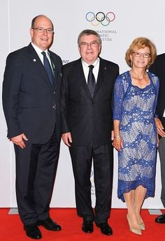 International Olympic Committee (IOC) President Thomas Bach (C), his wife Claudia and Prince Albert II of Monaco (L) attend the President's dinner at the Windsor convention center in Rio de Janeiro on August 4, 2016, ahead of the Rio 2016 Olympic Games.