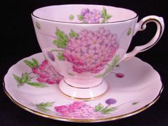 TUSCAN PINK PURPLE BEADED HYDRANGEA FLORAL TEA CUP AND SAUCER #Tuscan