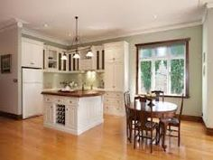 A charming and captivating interior featuring glossy polished timber floors and a generous open plan French provincial kitchen Granite Kitchen, New Kitchen, Kitchen Dining, Kitchen Ideas, Kitchen Images, Kitchen Photos, Beautiful Kitchens, Beautiful Homes, French Provincial Kitchen