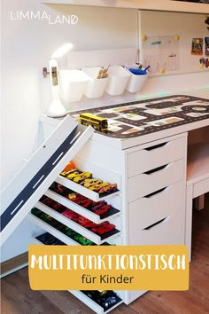 Latest Pic Game table for cars Popular An Ikea children's space remains to intrigue the little ones, because they are provided a great d Ikea Bed Hack, Ikea Desk, Ikea Hacks, Murphy Bed Ikea, Murphy Bed Plans, Ikea Kids, Ikea Children, Play Table, Table Games