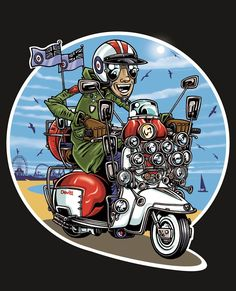 Scooter and mods Flat Design Illustration, Children's Book Illustration, Cartoon Styles, Cartoon Art, Design Kaos, Retro Scooter, Skinhead Fashion, Bike Drawing, Motorcycle Art