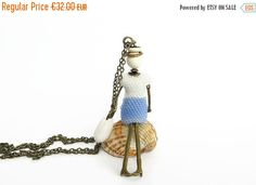 Sky Blue And White Doll Pendant Necklace by EdoraJewels