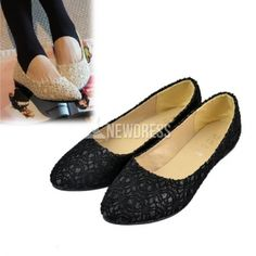 2014 New Fashion Women's Lace Surface Hollow Out Low Heels Pointed Toe Loafers Flat Shoes