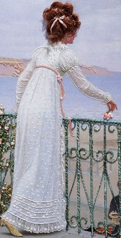 "This is actually a needlework picture containing silk ribbon embroidery, but it is a ""reproduction of the 1898 painting ""A Favour"" by Edmund Blair Leighton."