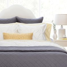 Shop White and Charcoal Grey bedding from Crane & Canopy. The Linden Charcoal Grey, a charcoal grey and white duvet cover made of soft cotton sateen, looks gorgeous and modern. Grey Bedding, Linen Bedding, Bedding Sets, Bedding Decor, Bed Linens, Bed Sets, Cama Queen, Grey Quilt, White Quilts