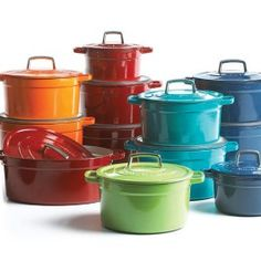 Martha Stewart Collection™ of colorful cast-iron casseroles on sale at Macy's--I'd take the teal;)