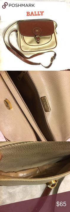 💕Vintage Bally Body Bag/ Purse made in Italy Vintage white and brown leather Bally cross body bag in good condition. Shows normal wear and tear but remains in vintage and classic condition. Bally Bags