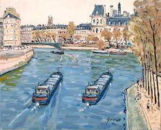 La Seine et l'Hôtel de Ville par Pierre Godet (French b. 1940) ©