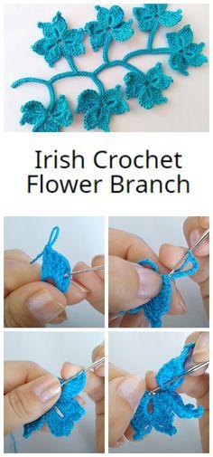 Irish Crochet Tutorial, Crochet Flower Tutorial, Crochet Lace Edging, Freeform Crochet, Crochet Flowers, Crochet Appliques, Crochet Thread Patterns, Crochet Designs, Lace Patterns