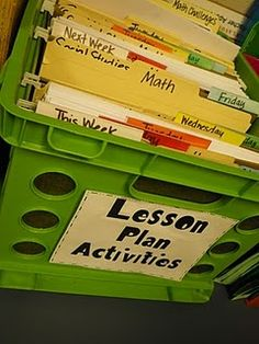 worksheets & materials for each day's lesson. I have a folder for each subject for every day of the week.