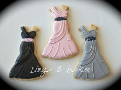 Dress cookies (brides maid dress, prom dresses etc) Fancy Cookies, Cut Out Cookies, Cute Cookies, Royal Icing Cookies, Basic Cookies, Valentine Cookies, Wedding Dress Cookies, Wedding Shower Cookies, Cupcakes