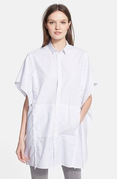 """EACH X OTHER Frayed Pinstripe Cotton Poplin Shirt n oversized poncho shape and frayed edges framing the front and back revise a classic menswear-inspired pinstripe shirt. 34"""" length (size Medium). Side-seam pockets. Front button closure. 100% cotton.available at #Nordstrom"""