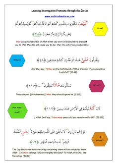 Question words in Arabic through the Quran. Click the pin for free download.