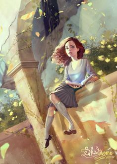 Hermione at Hogwarts. Harry Potter Fan Art, Mundo Harry Potter, Harry Potter Universal, Harry Potter Fandom, Harry Potter World, Chibi, Animé Fan Art, Desenhos Harry Potter, Yer A Wizard Harry